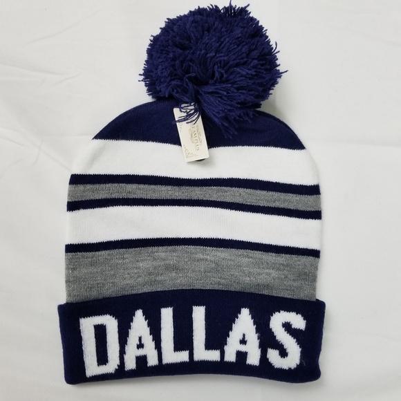7ea92bbf46e31 Dallas Cowboys Colors Pom Pom Knit Beanie Hat Cap